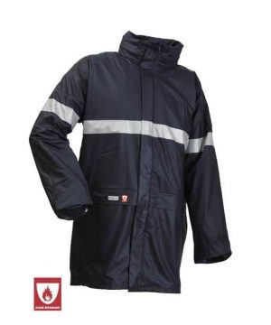 lyngsoe flame retardant anti static winter rain jacket with reflective detail navy