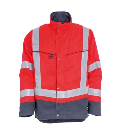 tarnemo ce-me hi vis work jacket red and grey