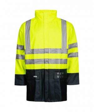 lyngsoe flame retardant hi vis rain jacket with arc protection yellow navy