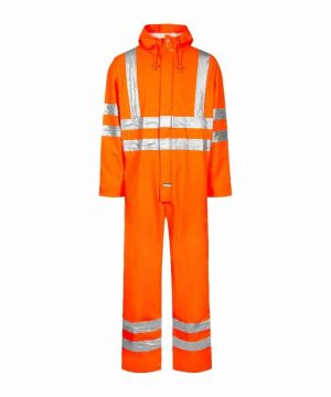 lyngsoe flame retardant hi vis rain coverall with arc protection orange