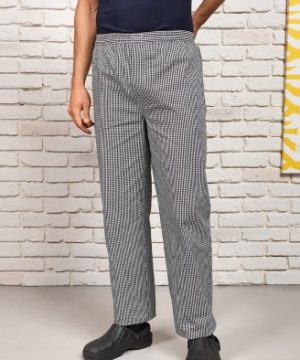 premier pull on check chefs trousers