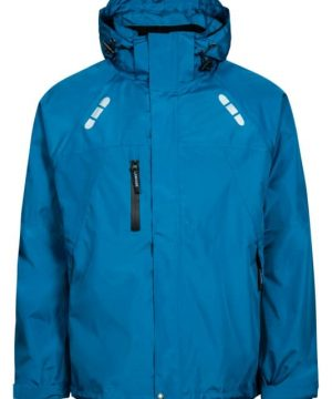breathable waterproof jacket with reflective detail petrol blue