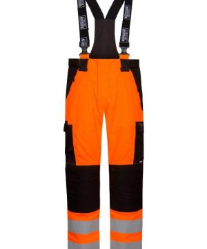 Lyngsoe flame retardant electric arc hi visibility bib rain trousers orange and black