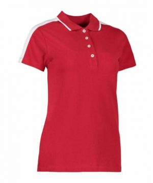 Id ladies polo shirt with contrast stripe on collar