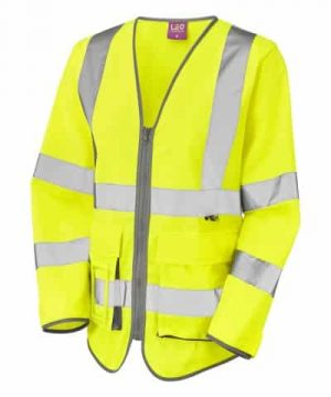 Leo ladies hi vis sleeved executive waistcoat